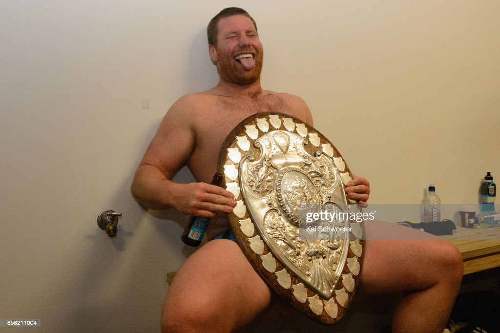 Mitchell Graham of Taranaki poses with the Ranfurly Shield after the win in the round eight Mitre 10 Cup match between Canterbury and Taranaki at AMI Stadium on October 6, 2017 in Christchurch, New Zealand.