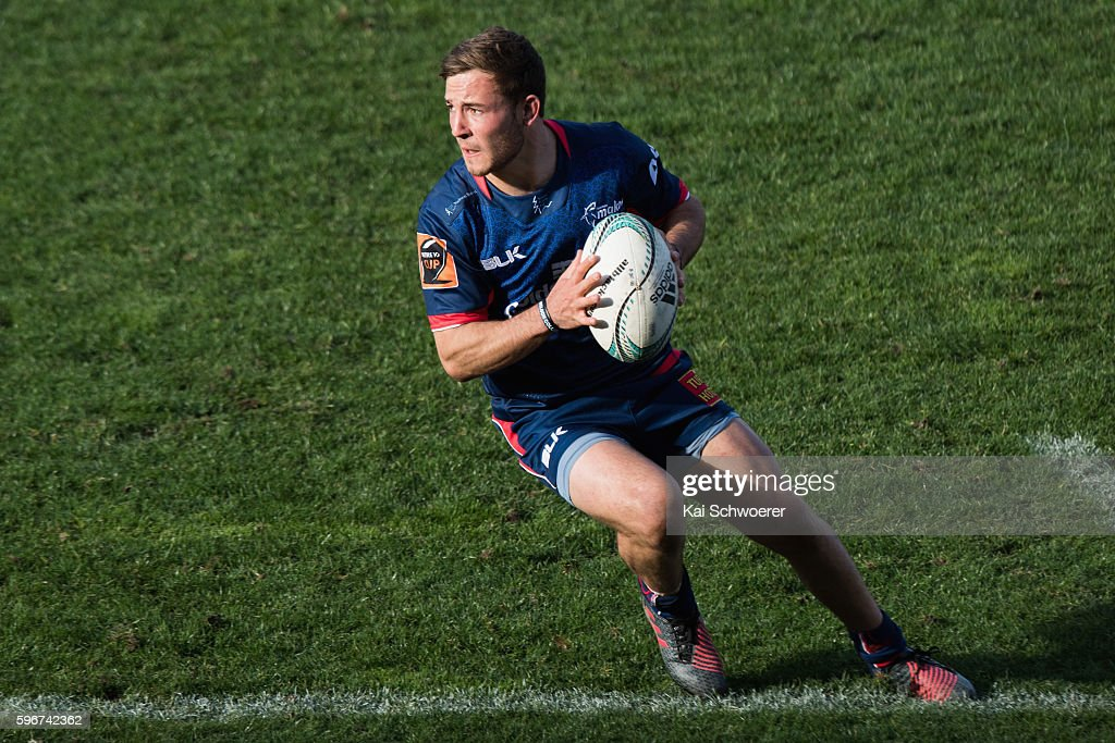 Mitchell Hunt of Tasman runs with the ball during the round two Mitre 10 Cup match between Canterbury and Tasman at AMI Stadium on August 28 2016 in...