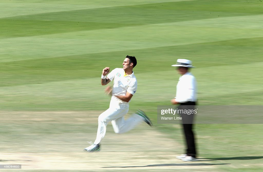 Mitchell Johnnson of Australia bowls during Day Four of the Second Test between Pakistan and Australia at Sheikh Zayed Stadium on November 2, 2014 in Abu Dhabi, United Arab Emirates.