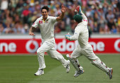 Mitchell Johnson and Matthew Wade of Australia celebrate the wicket of Tillakaratne Dilshan of Sri Lanka during day three of the Second Test match...