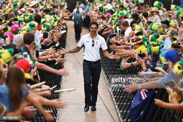 Mitchell Johnson arrives at the Australian Ashes team celebrations at Sydney Opera House on January 7 2014 in Sydney Australia The Australian team...