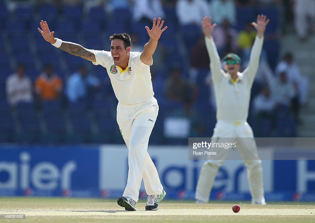 Mitchell Johnson of Australia appeals unsuccesfully for the wicket of Younis Khan of Pakistan during Day Four of the Second Test between Pakistan and Australia at Sheikh Zayed Stadium on November 2, 2014 in Abu Dhabi, United Arab Emirates.