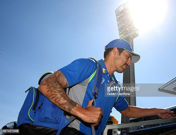 Mitchell Johnson of Australia arrives for day five of the second Test match between Australia and New Zealand at the WACA on November 17 2015 in...