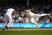 Mitchell Johnson of Australia attempts to catch Jonny Bairstow of England off his own bowling during day three of the 5th Investec Ashes Test match...