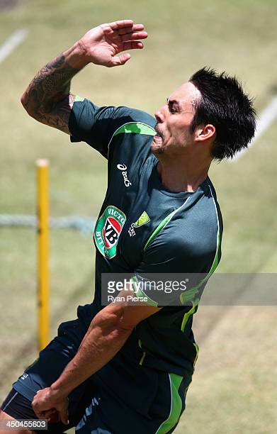 Mitchell Johnson of Australia bowls during an Australia nets session at The Gabba on November 19 2013 in Brisbane Australia