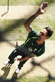 Mitchell Johnson of Australia bowls during an Australia nets session at Bellerive Oval on March 12 2015 in Hobart Australia