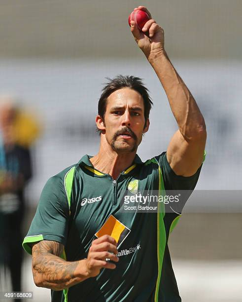 Mitchell Johnson of Australia bowls during an Australian nets session at the Melbourne Cricket Ground on December 24 2013 in Melbourne Australia
