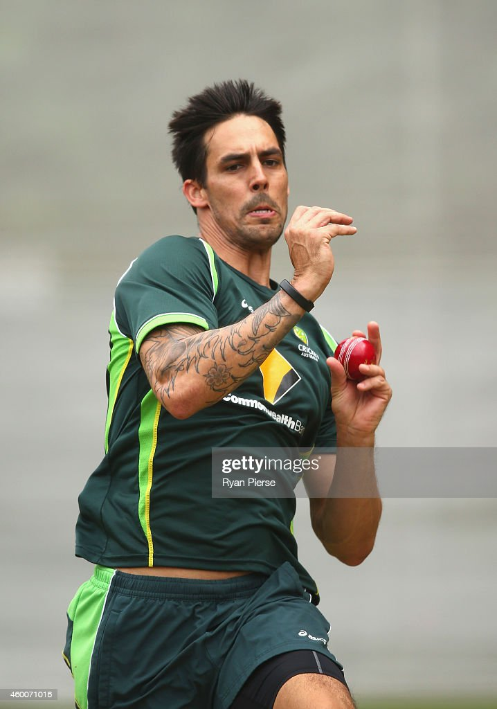 <a gi-track='captionPersonalityLinkClicked' href=/galleries/search?phrase=Mitchell+Johnson+-+Cricket+Player&family=editorial&specificpeople=665783 ng-click='$event.stopPropagation()'>Mitchell Johnson</a> of Australia bowls during an Australian nets session at Adelaide Oval on December 7, 2014 in Adelaide, Australia.