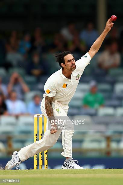 Mitchell Johnson of Australia bowls during day five of the second Test match between Australia and New Zealand at WACA on November 17 2015 in Perth...