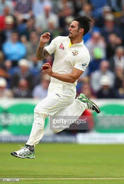 Mitchell Johnson of Australia bowls during day one of the 1st Investec Ashes Test match between England and Australia at SWALEC Stadium on July 8...