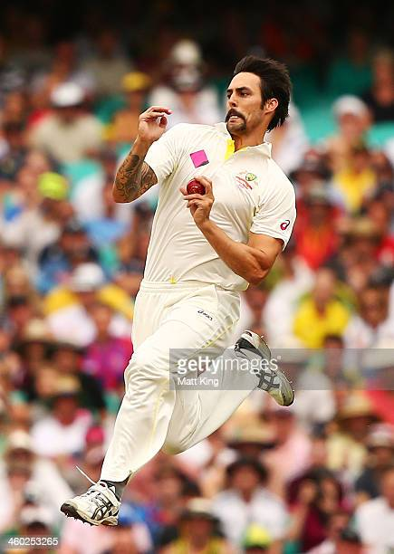 Mitchell Johnson of Australia bowls during day one of the Fifth Ashes Test match between Australia and England at Sydney Cricket Ground on January 3...
