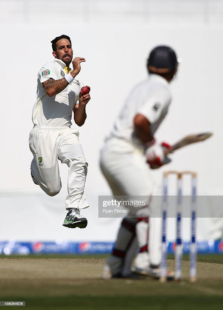 <a gi-track='captionPersonalityLinkClicked' href=/galleries/search?phrase=Mitchell+Johnson+-+Cricket+Player&family=editorial&specificpeople=665783 ng-click='$event.stopPropagation()'>Mitchell Johnson</a> of Australia bowls during Day One of the Second Test at Sheikh Zayed Stadium on October 30, 2014 in Abu Dhabi, United Arab Emirates.