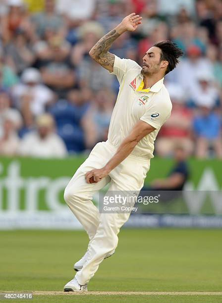 Mitchell Johnson of Australia bowls during day three of the 1st Investec Ashes Test match between England and Australia at SWALEC Stadium on July 10...