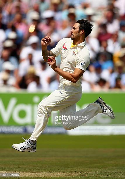 Mitchell Johnson of Australia bowls during day three of the 2nd Investec Ashes Test match between England and Australia at Lord's Cricket Ground on...