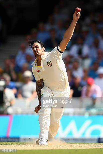Mitchell Johnson of Australia bowls during day three of the 5th Investec Ashes Test match between England and Australia at The Kia Oval on August 22...