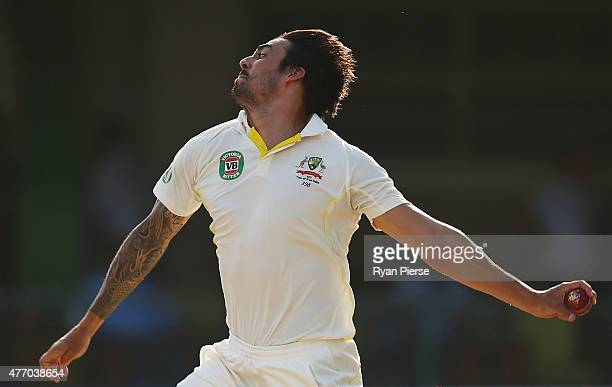 Mitchell Johnson of Australia bowls during day three of the Second Test match between Australia and the West Indies at Sabina Park on June 13 2015 in...