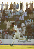 Mitchell Johnson of Australia bowls during Day Two of the Second Test between Pakistan and Australia at Sheikh Zayed Stadium at Sheikh Zayed stadium...