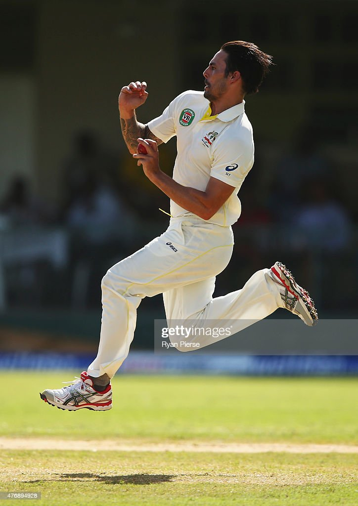 <a gi-track='captionPersonalityLinkClicked' href=/galleries/search?phrase=Mitchell+Johnson+-+Cricket+Player&family=editorial&specificpeople=665783 ng-click='$event.stopPropagation()'>Mitchell Johnson</a> of Australia bowls during day two of the Second Test match between Australia and the West Indies at Sabina Park on June 12, 2015 in Kingston, Jamaica.