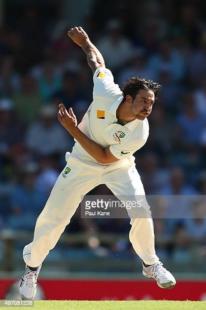 Mitchell Johnson of Australia bowls during day two of the second Test match between Australia and New Zealand at the WACA on November 14 2015 in...