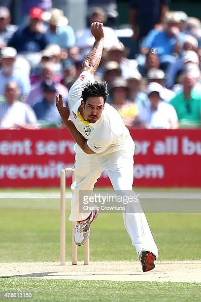 Mitchell Johnson of Australia bowls during day two of the tour match between Kent and Australia at The Spitfire Ground St Lawrence on June 26 2015 in...