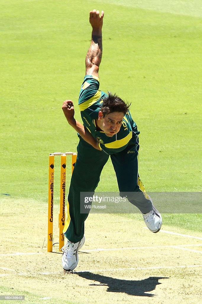 Mitchell Johnson of Australia bowls during game one of the Commonwealth Bank One Day International Series between Australia and the West Indies at WACA on February 1, 2013 in Perth, Australia.