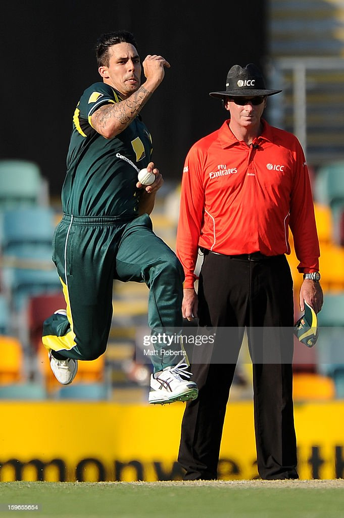 Mitchell Johnson of Australia bowls during game three of the Commonwealth Bank one day international series between Australia and Sri Lanka at The Gabba on January 18, 2013 in Brisbane, Australia.