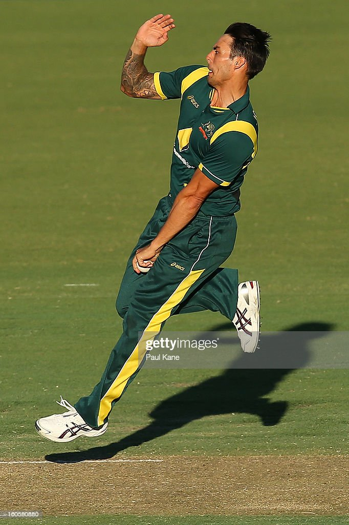 Mitchell Johnson of Australia bowls during game two of the Commonwealth Bank One Day International Series between Australia and the West Indies at WACA on February 3, 2013 in Perth, Australia.