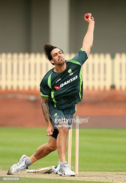 Mitchell Johnson of Australia bowls during the Australian Test Players red ball player camp at Hurstville Oval on October 14 2015 in Sydney Australia