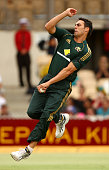 Mitchell Johnson of Australia bowls during the Commonwealth Bank Series One Day International game four match between Australia and New Zealand at...