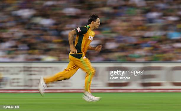 Mitchell Johnson of Australia bowls during the Second Twenty20 International Match between Australia and England at the Melbourne Cricket Ground on...