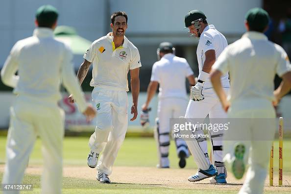 Mitchell Johnson of Australia celebrates after bowling out Graeme Smith of South Africa during day three of the Second Test match between South...