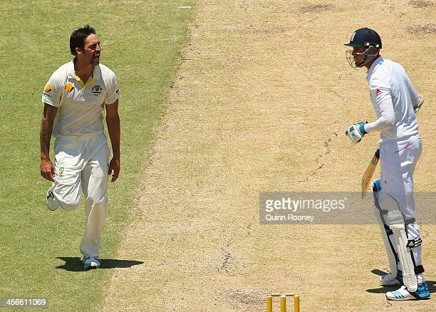 Mitchell Johnson of Australia celebrates after taking the wicket of Stuart Broad of England during day three of the Third Ashes Test Match between...