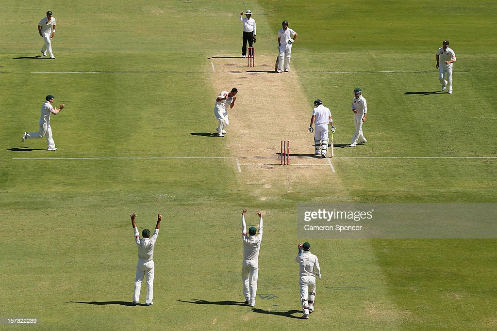 Mitchell Johnson of Australia celebrates dismissing Dean Elgar of South Africa for lbw during day three of the Third Test Match between Australia and South Africa at the WACA on December 2, 2012 in Perth, Australia.