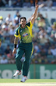 Mitchell Johnson of Australia celebrates dismissing James Taylor of England during the final match of the Carlton Mid One Day International series...