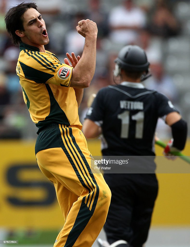 Mitchell Johnson of Australia celebrates his LBW of Daniel Vettori of New Zealand during the fourth One Day International match between New Zealand...