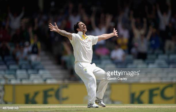 Mitchell Johnson of Australia celebrates takes the final wicket of James Anderson of England to win the Third Ashes Test Match between Australia and...
