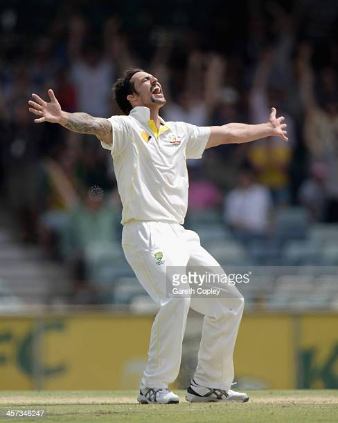 Mitchell Johnson of Australia celebrates taking the final wicket of James Anderson of England to win the Third Ashes Test Match between Australia and...