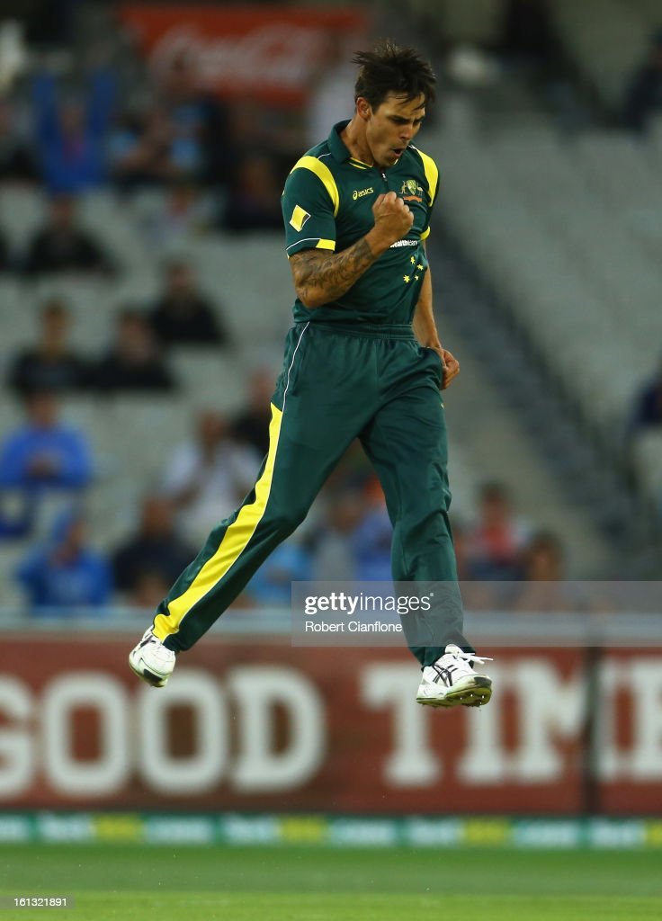 Mitchell Johnson of Australia celebrates taking the wicket of Dwayne Bravo of the West Indies during game five of the Commonwealth Bank International Series between Australia and the West Indies at the Melbourne Cricket Ground on February 10, 2013 in Melbourne, Australia.