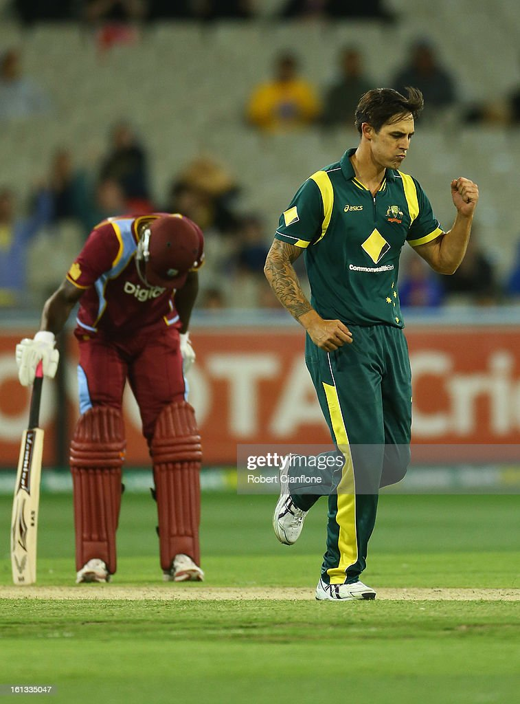 Mitchell Johnson of Australia celebrates taking the wicket of Sunil Narine of the West Indies during game five of the Commonwealth Bank International Series between Australia and the West Indies at the Melbourne Cricket Ground on February 10, 2013 in Melbourne, Australia.