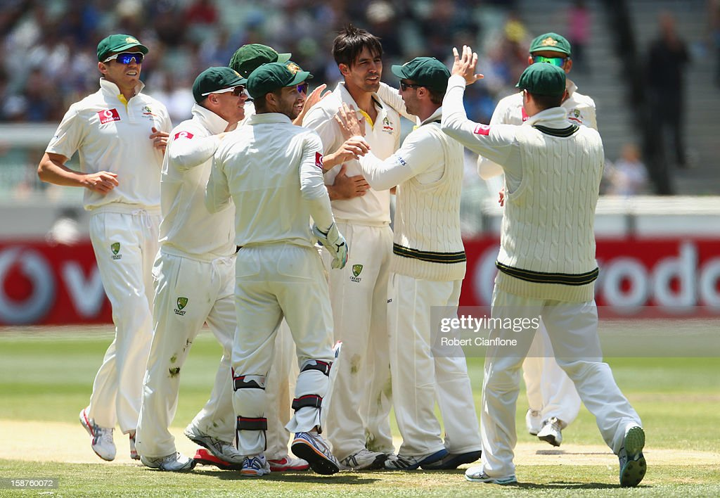 Mitchell Johnson of Australia celebrates the wicket of Angelo Mathews of Sri Lanka during day three of the Second Test match between Australia and Sri Lanka at Melbourne Cricket Ground on December 28, 2012 in Melbourne, Australia.