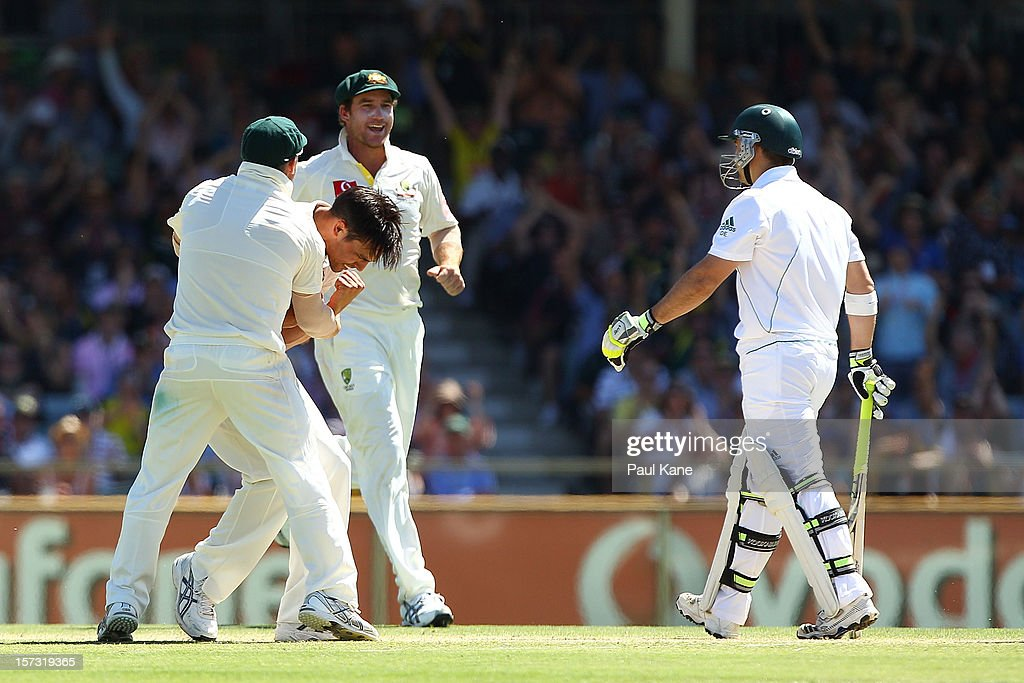 Mitchell Johnson of Australia celebrates the wicket of Dean Elgar of South Africa during day three of the Third Test Match between Australia and South Africa at WACA on December 2, 2012 in Perth, Australia.