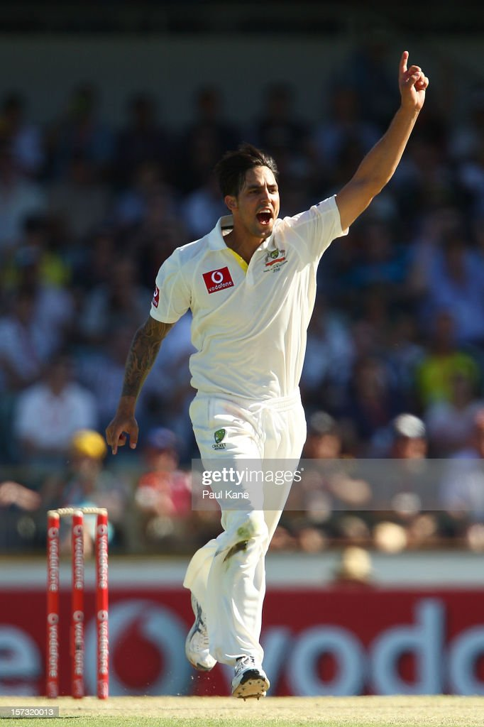 Mitchell Johnson of Australia celebrates the wicket of Faf du Plessis of South Africa during day three of the Third Test Match between Australia and South Africa at WACA on December 2, 2012 in Perth, Australia.