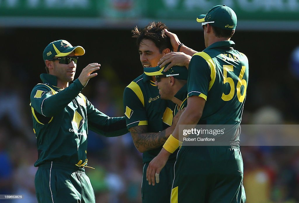 Mitchell Johnson of Australia celebrates the wicket of Lahiru Thirimanne of Sri Lanka during game three of the Commonwealth Bank One Day International Series between Australia and Sri Lanka at The Gabba on January 18, 2013 in Brisbane, Australia.