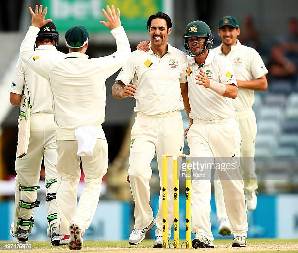 Mitchell Johnson of Australia celebrates the wicket of Martin Guptill of New Zealand during day five of the second Test match between Australia and...