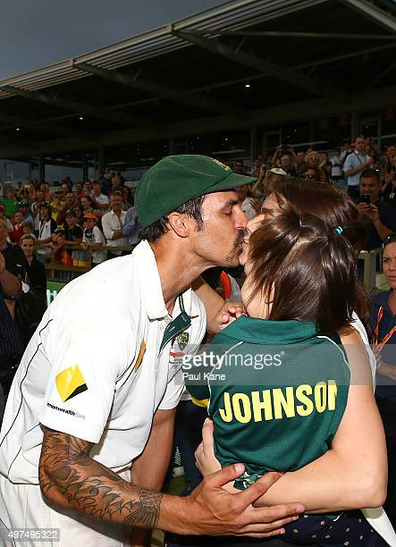 Mitchell Johnson of Australia is greeted by his wife Jessica and daughter Rubika after playing his final test match during day five of the second...