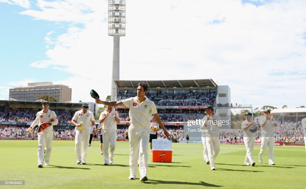 Mitchell Johnson of Australia leaves the field of play after taking 6 wickets during day two of the Third Ashes Test match between Australia and England at WACA on December 17, 2010 in Perth, Australia.