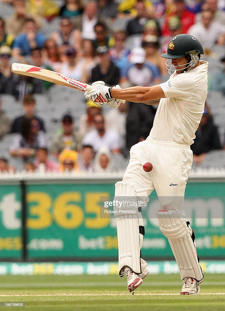 Mitchell Johnson of Australia plays a shot during day three of the Second Test match between Australia and Sri Lanka at Melbourne Cricket Ground on December 28, 2012 in Melbourne, Australia.
