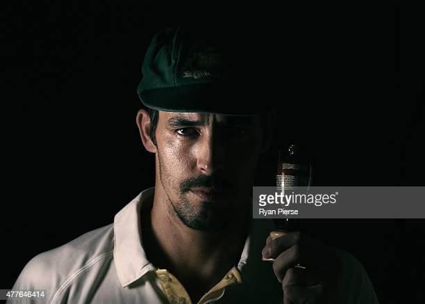 Mitchell Johnson of Australia poses during an Australian Cricket Team Ashes portrait session on June 1 2015 in Roseau Dominica