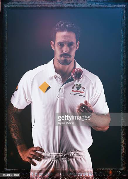 Mitchell Johnson of Australia poses during an Australian Test Cricket Portrait Session on October 19 2015 in Sydney Australia