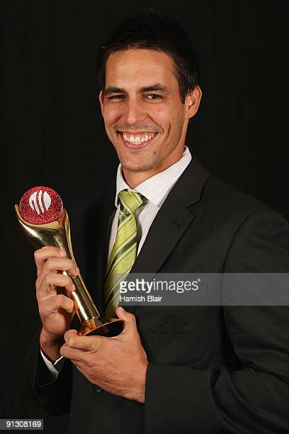 Mitchell Johnson of Australia poses with his award for The ICC Cricketer of the Year during the ICC Annual Awards Ceremony held at the Sandton...
